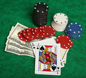 Eine gewinnende Blackjackhand Lizenzfreie Stockfotos