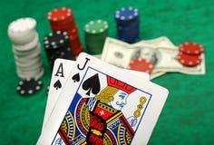 Eine gewinnende Blackjackhand Stockbild