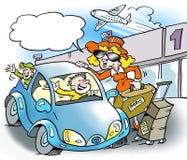 Eine glückliche Familie geht auf eine Reise Lizenzfreie Stockbilder