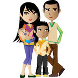 Eine glückliche Familie ist aber ein früherer Himmel Stockfotografie