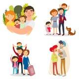 Eine glückliche Familie set Schwangerschaft, Baby, Vater, Freundschaft, Verhältnisse Lizenzfreies Stockfoto