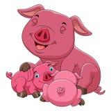 Eine glückliche Schweinfamilie der Karikatur lizenzfreie abbildung