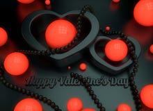 Eine Glückwunschillustration auf dem Thema des Valentinstags 3d übertragen von glühenden Perlenperlenherzen mit Reflexionen vektor abbildung