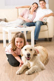 Eine glückliche Familie mit Hund Lizenzfreie Stockfotos