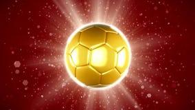 Eine goldene Fußballflagge, die spinnt stock footage