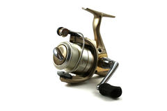 Eine goldene Spincasting Bandspule betriebsbereit zu fischen zu gehen lizenzfreie stockbilder