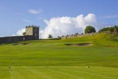 Eine Golffahrrinne und -GRÜN im Parkland kursieren im Rogen River Valley nahe Limavady in Nordirland Stockfotografie