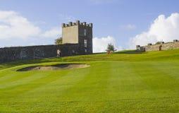Eine Golffahrrinne und -GRÜN im Parkland kursieren im Rogen River Valley nahe Limavady in Nordirland Stockbilder