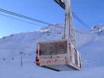Eine Gondel in Courchevel Stockbild