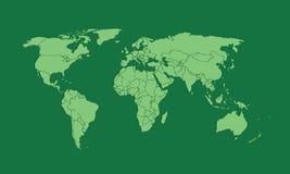 Eine grüne Weltkarte oder ein Atlas von verschiedenen Ländern mit Grenzen vektor abbildung