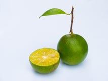 Eine grüne Zitrone zwei lizenzfreie stockbilder