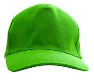 Eine grüne Baseballmütze wird getrennt Stockbild