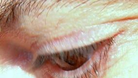 Eine Großaufnahme des menschlichen Auges, das sich dreht stock footage