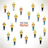 Eine große Gruppe Arbeitskraftversammlungsdesign Stockbilder
