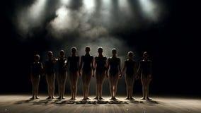 Eine große Gruppe Kinder führen am Stadium, sie beugen gleichzeitig durch ballett stock video