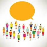 Eine große Gruppe Kinder treten zusammen zusammen Lizenzfreies Stockbild