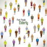 Eine große Gruppe Versammlungsdesign der älteren Personen Stockfoto