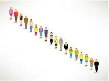Eine große Gruppe von oben zusammen anstehen Lizenzfreie Stockfotos