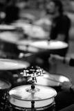Eine große musikalische Platte mit einem Satz von kleinem Stockfotografie