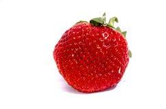 Eine große rote Erdbeere, die zu versteckt schaut, ist Samen Lizenzfreie Stockbilder