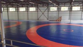 Eine große Turnhalle für das Wringen ohne Leute mit den Matten und blauer Farbe umfasst mit orange Markierungen Ein Teppich für K stock video