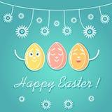 Eine Grußkarte für Ostern, wenn emotionale helle farbige Ostereier, mit Blumen verziert sind, weiße Linien Stockbilder