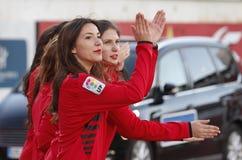 Eine Gruppe Cheerleadern Stockfotografie