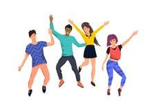 Eine Gruppe des jungem Springens der glücklichen Menschen lizenzfreie abbildung