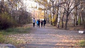 Eine Gruppe des jungen Läuferlaufens stock video footage
