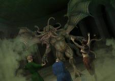 Eine Gruppe des Kultisten das große Monster Cthulhu anbetend Lizenzfreie Stockbilder