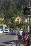 Eine Gruppe des Weghauses der jungen Mädchen von der Schule in Maraval, Trinidad stockfoto