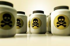 Eine Gruppe Flaschen Gift Lizenzfreies Stockbild