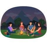 Eine Gruppe Freunde, die am Lagerfeuer in der Nacht in den Bergen sitzen, vector Illustration Kampierende Picknickleute Lizenzfreies Stockbild