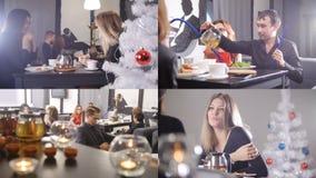 4 in 1: Eine Gruppe Freunde trinken Tee- und Rauchhuka im Aufenthaltsraumcafé stock video footage