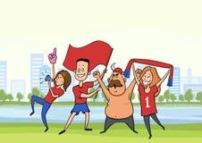 Eine Gruppe Fußballfane Die Männer und Frauen, die für ihr Lieblingsfußballteam in der Stadt zujubeln, gestalten landschaftlich V stock abbildung
