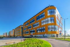 Eine Gruppe Geschäftsgebäude Stockbilder