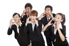 Eine Gruppe Geschäftsleute Schreien stockbild