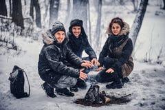 Eine Gruppe glückliche Freunde inszenierte ein Kampieren inmitten eines schneebedeckten Waldes stockfotos