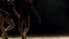 Eine Gruppe junge Ballerinamädchen, die auf Stadium tanzen stock footage