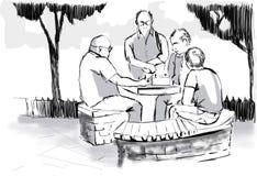 Eine Gruppe Männer, die Schach spielen lizenzfreies stockbild