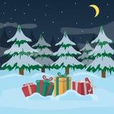 Eine Gruppe neues Jahr ` s stellt sich mit Bändern auf einer Nacht des verschneiten Winters und auf Weihnachtsbaumhintergrund dar stock abbildung