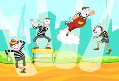 Eine Gruppe Pantomime auf der Straße von Paris Lizenzfreies Stockfoto