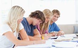 Eine Gruppe Studenten, die als ein Student arbeiten, betrachtet die Kamera Lizenzfreies Stockfoto