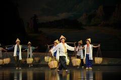Eine Gruppe tragen eine Lastsarbeitskräfte Jiangxi-Oper eine Laufgewichtswaage Lizenzfreies Stockfoto