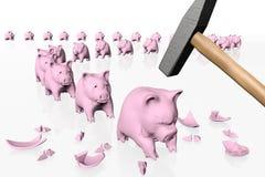 Piggy Banken in der Reihe unter dem Schlag des Hammers vektor abbildung