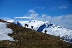Eine Gruppe von Personen, die in Epirus, Griechenland wandert Stockfoto