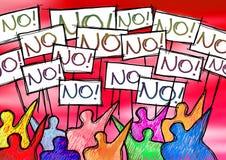 Eine Gruppe von Personen, die Schreiben 'nein 'auf ihren Anschlagtafeln protestiert stockbilder
