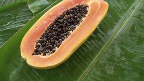 Eine Hälfte der frischen rohen exotischen tropischen thailändischen Frucht Carica Papaya drehend auf Bananen-Blatt stock footage