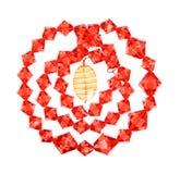 Eine Halskette des Rot- und Gelbglases Lizenzfreies Stockbild