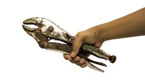 Eine Hand des Schlossers halten an lokalisiert Lizenzfreie Stockfotos